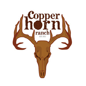 A logo for copper horn ranch, made with fonts from the Wild West Press font set