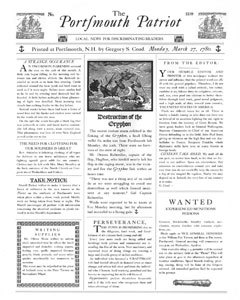 Colonial newspaper The Portsmouth Patriot, made with Caslon fonts from the Minuteman Printshop Revolutionary War Font Set