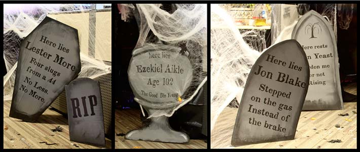Halloween tombstones made with fonts from the Minuteman Printshop font set