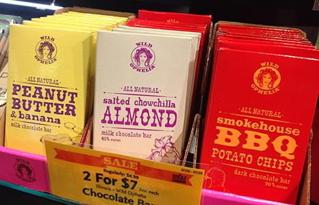 Chocoloate packaging that uses Whitecross and other fonts from the Wild West Press font set