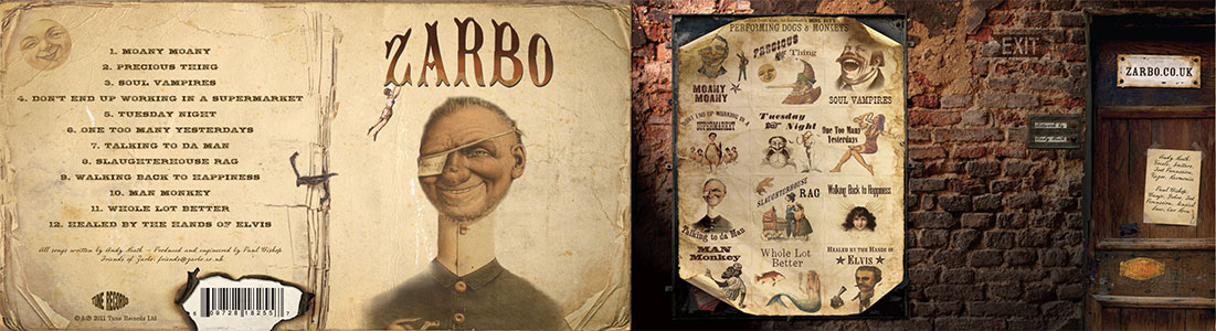 a CD booklet for British Band Zarbo uses fonts from the Wild West Press font set