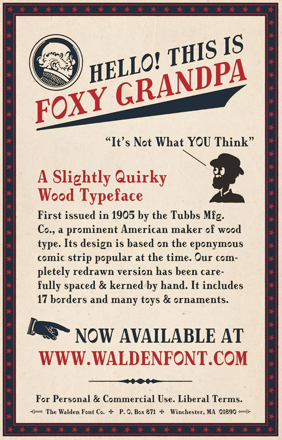 An Advertisement for the Foxy Grandpa Font