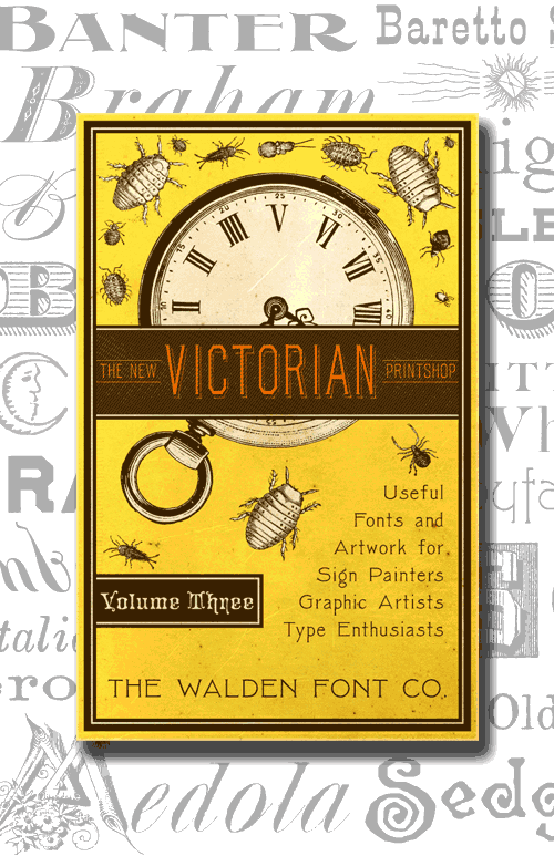 Header image for the New Victorian Printshop font set, volume three