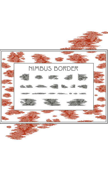 A sample of WF Border Peacock, a decorative border font from the Art Nouveau Printshop Volume 1 design kit