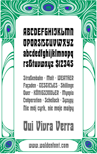 WF Dahlia is a German Jugendstil Art Nouveau font. Completely redrawn and featuring support for most European languages