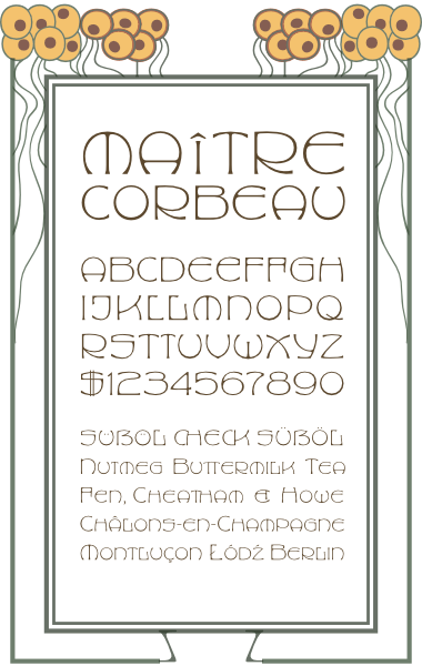 WF Maria Theresia is a German Jugendstil Art Nouveau font. Completely redrawn and featuring support for most European languages