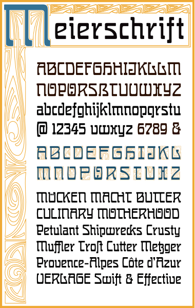 WF Meierschrift is a German Jugendstil Art Nouveau font. Completely redrawn and featuring support for most European languages