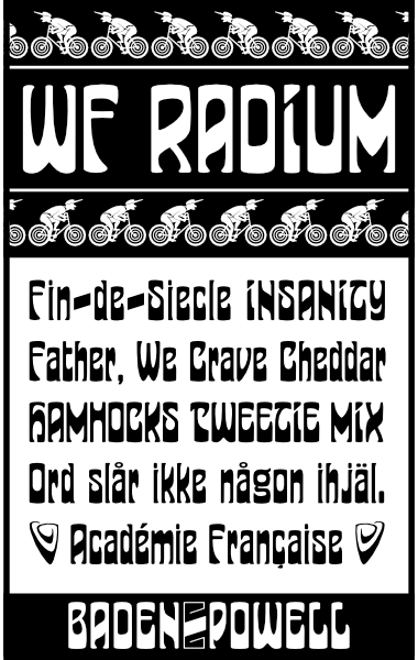 WF Radium is a German Jugendstil Art Nouveau font. Completely redrawn and featuring support for most European languages
