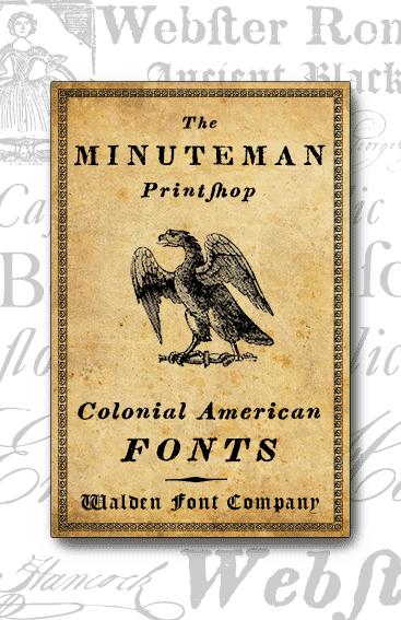 Header image for the Minuteman Printshop set of fonts