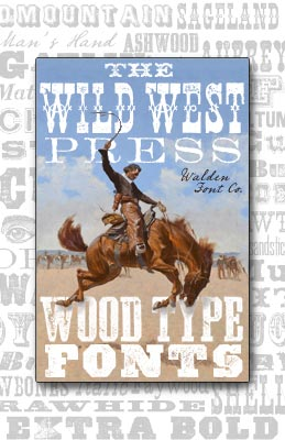 Cover art for the Wild West Press font set of rough and grungy wood type fonts and clip art