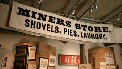 An image of exhibition signage created with fonts from the New Victorian Printshop