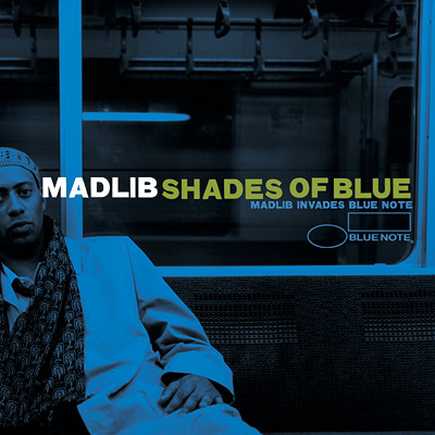 Cover for the CD Shades of Blue by Madlib, featuring fonts from the Civil War Press