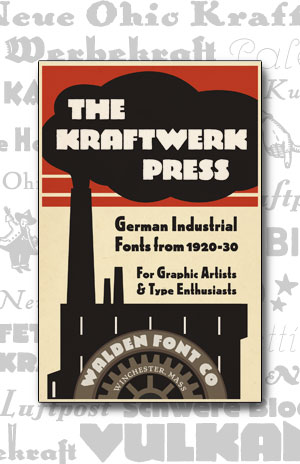 Cover art for the Kraftwerk Press font set of heavy industrial fonts