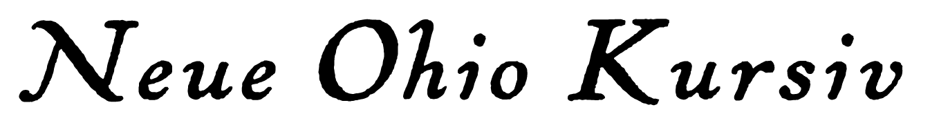 A sample of the Ohio Kursiv font, an art-deco text font, originally by the German Brüder Butter foundry