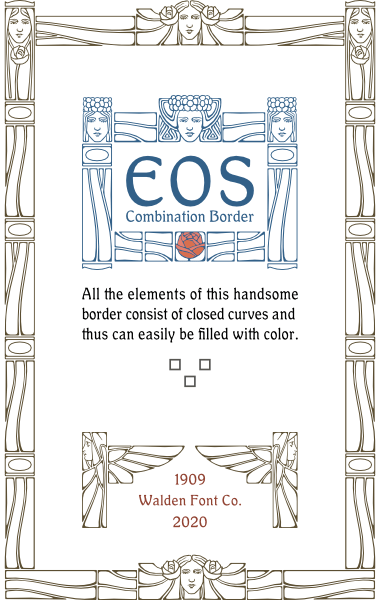 A sample of WF Border Eos, a decorative border font from the Art Nouveau Printshop Volume 1 design kit