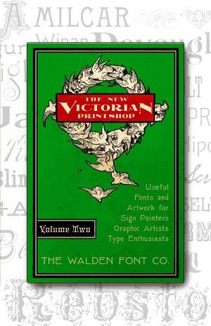 Cover art for volume 2 of the New Victorian Printshop font set of victorian fonts
