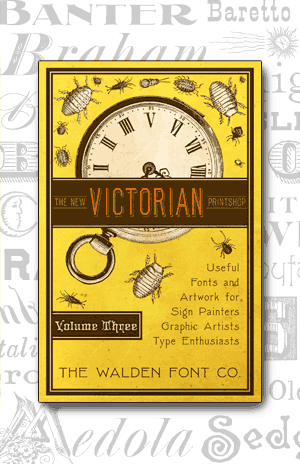 Cover art for volume 3 of the New Victorian Printshop font set of victorian fonts